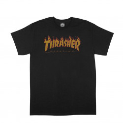 THRASHER, T-shirt flame halftone ss, Black