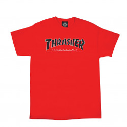 THRASHER, T-shirt outlined ss, Red