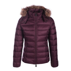 JUST OVER THE TOP, Luxe grand froid capuche fourrure, Aubergine