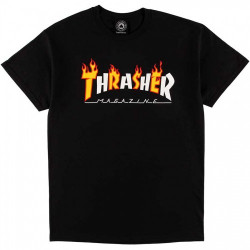 THRASHER, T-shirt flame mag, Black