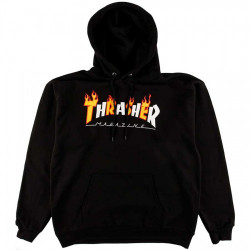 THRASHER, Sweat flame mag hood, Black