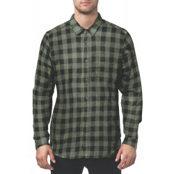 GLOBE, Barkly vintage plaid ls shirt, Army