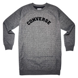 CONVERSE, Long sleeve sweatshirt dress, Converse black marl
