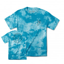 PRIMITIVE, T-shirt r & m ii morty outline tie-dye, Aqua