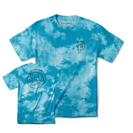 T-shirt r & m ii morty outline tie-dye - Aqua
