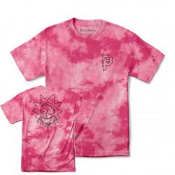 PRIMITIVE, T-shirt r & m ii rick outline tie-dye, Pink tie-dye