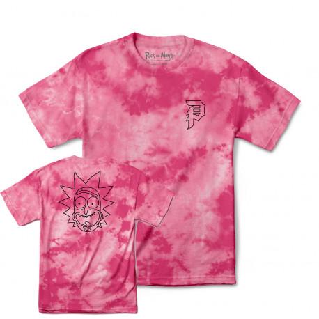 T-shirt r & m ii rick outline tie-dye - Pink tie-dye