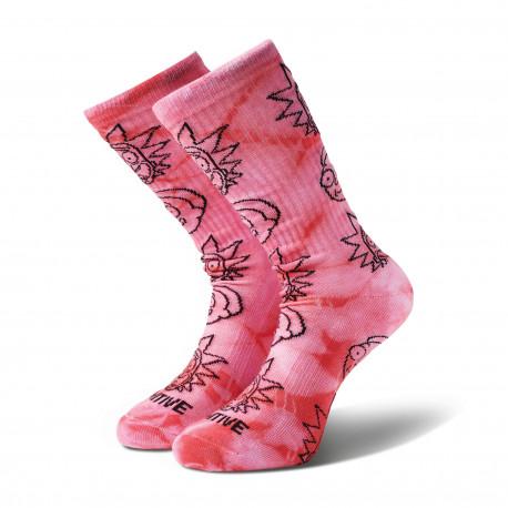 Socks r & m ii dirty p rick crew - Pink tie dye