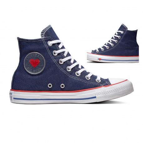 Chuck taylor all star denim love hi - Indigo/enamel red/blue