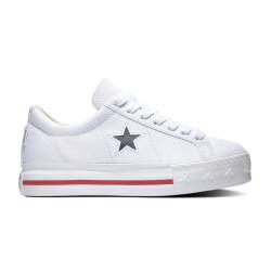 CONVERSE, One star platform ox, White/dark obsidian/gym red