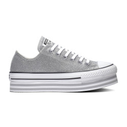CONVERSE, Chuck taylor all star platform layer ox, Silver/wolf grey/white