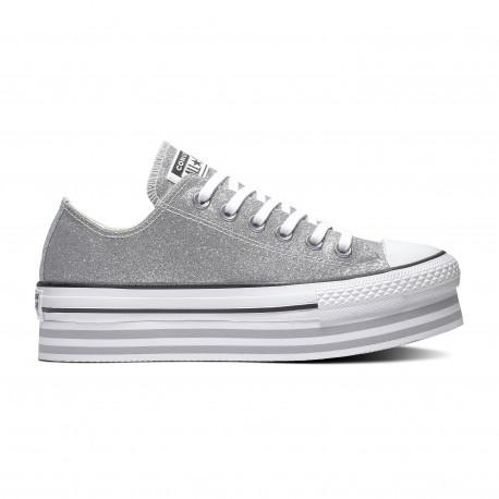 Chuck taylor all star platform layer ox - Silver/wolf grey/white