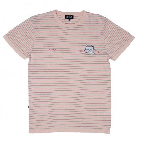 Peeking nermal knit tee - Pink/teal