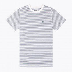 WEMOTO, Shake tee striped, Off white-navy blue