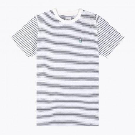 Shake tee striped - Off white-navy blue