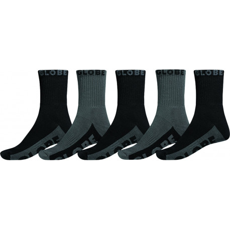 Black/grey crew sock 5pk - Black/grey