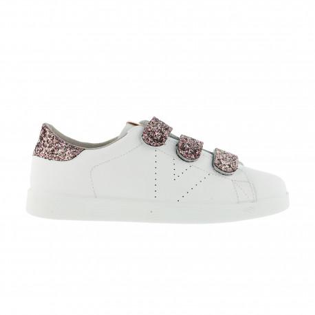 Tenis velcros glitter - Rosa