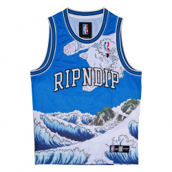 RIPNDIP, Great wave mesh basketball jersey, Blue