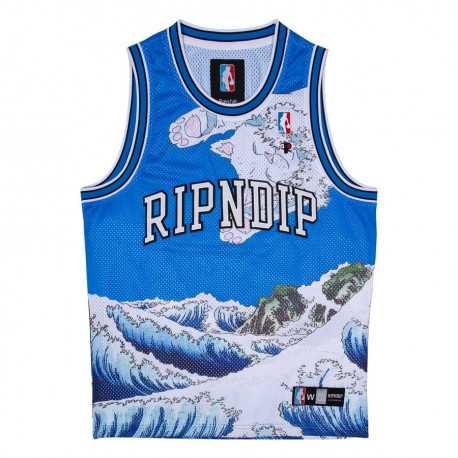 Great wave mesh basketball jersey - Blue