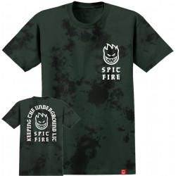 SPITFIRE, T-shirt steady rockin crystal wash ss, Blk grn cytl