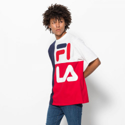 FILA, Men indo colour blocked american fit tee, Peacoat