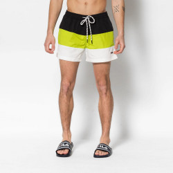 FILA, Men saloso swin shorts, Black-acid lime-bright white