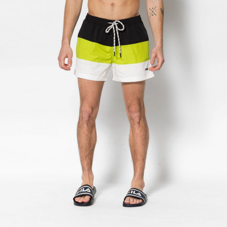 Men saloso swin shorts - Black-acid lime-bright white