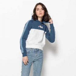 FILA, Women landers hooded sweat, Ensign blue-bright white-blue shadow