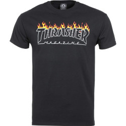 THRASHER, T-shirt scorched outline ss, Black