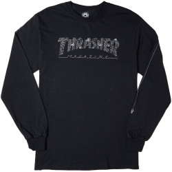 THRASHER, T-shirt web ls, Black