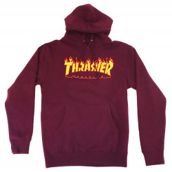 THRASHER, Sweat flame hood, Maroon