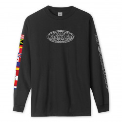 HUF, T-shirt world tour ls, Black