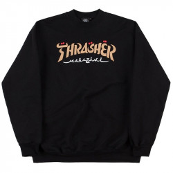 THRASHER, Sweat calligraphy crew, Black