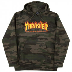 THRASHER, Sweat flame hood, Forest camo