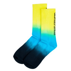 SANTA CRUZ, Strip fade crew sock, Yellow/cyan/black