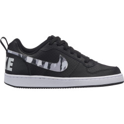 NIKE, Boys' nike court borough low (gs) shoe, Black/multi-color-pure platinum-white