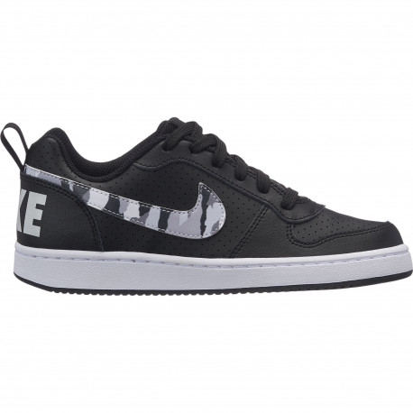 Boys' nike court borough low (gs) shoe - Black/multi-color-pure platinum-white