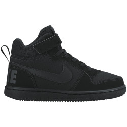 NIKE, Boys' nike court borough mid (ps) pre-school shoe, Black/black