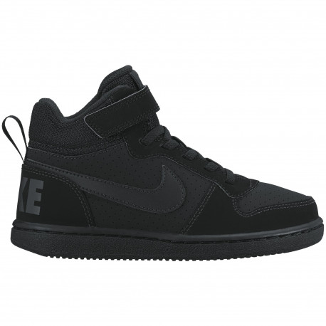 Boys' nike court borough mid (ps) pre-school shoe - Black/black