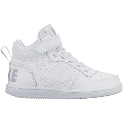 NIKE, Boys' nike court borough mid (ps) pre-school shoe, White/white