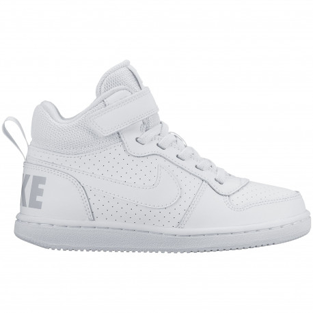 Boys' nike court borough mid (ps) pre-school shoe - White/white