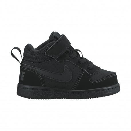 Boys' nike court borough mid (td) toddler shoe - Black/black
