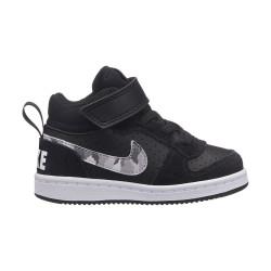 NIKE, Boys' nike court borough mid (td) toddler shoe, Black/multi-color-pure platinum-white