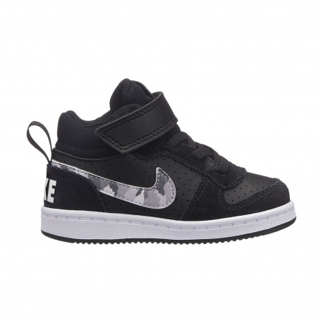Boys' nike court borough mid (td) toddler shoe - Black/multi-color-pure platinum-white