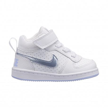 Girls' nike court borough mid (td) toddler shoe - White/royal tint