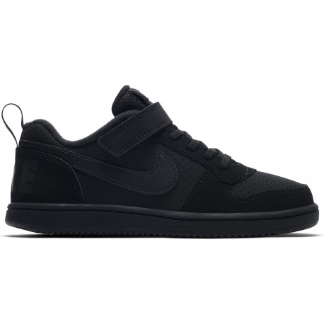 Boys' nike court borough low (ps) pre-school shoe - Black/black