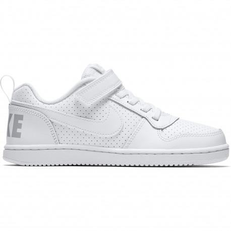 Boys' nike court borough low (ps) pre-school shoe - White/white