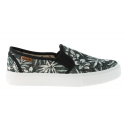 VICTORIA, Slip on estamp.hojas tropicales, Negro