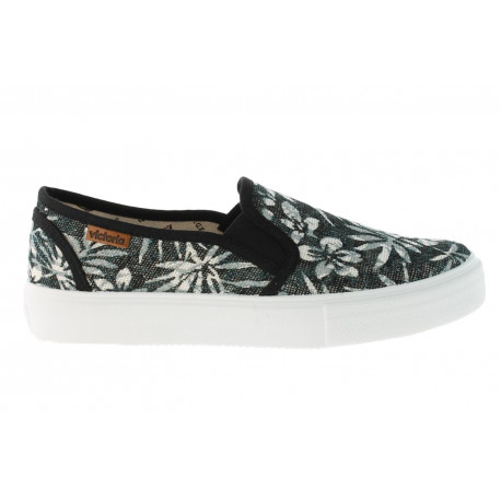 Slip on estamp.hojas tropicales - Negro