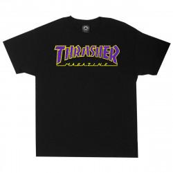 THRASHER, T-shirt outlined ss, Black